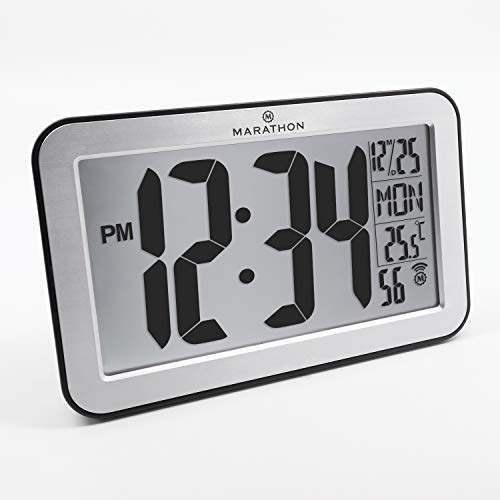 Marathon CL030033SV Panoramic Atomic Self-setting Self-adjusting Wall Clock w/Stand & 8 Timezones - Brushed Silver - Batteries Included (Clock Atomic Setting)