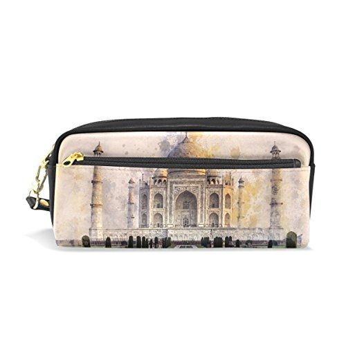 (DNOVING Pencil Case Stylish Print Taj Mahal Ivory-White Marble Agra India 17th Art Pattern Large Capacity Pen Bag Makeup Pouch Durable Students Stationery Two Pockets with Double Zipper)