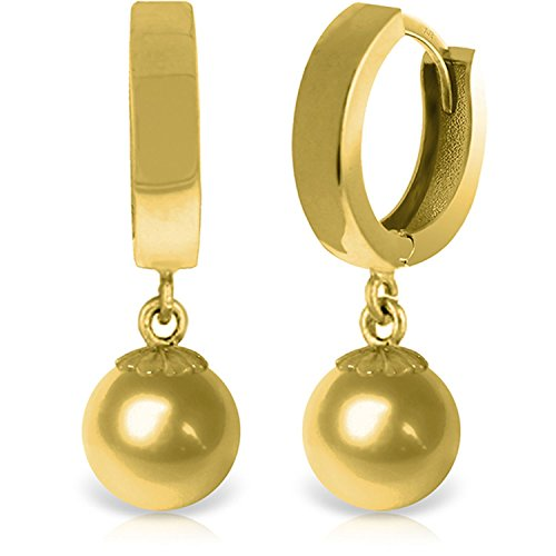 14k Solid Gold Huggie Earrings with Dangling Ball Drop