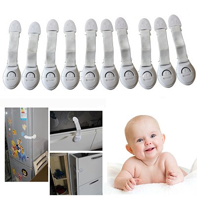 Binnan Set of 10 Pcs Baby Safety Strap Cabinet Locks, Drawer and Door Lock for Child Proofing Toilet,Cupboard,Drawers,Cabinets,Fridge