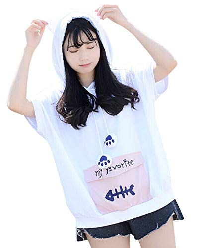 Cosplay Anime Bunny Emo Girls Sweater Hoodie Ears Costume Panda Cat Emo Bear Jacket T Shirt Top Shirt (Fishbone) -