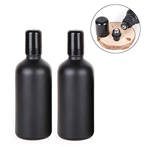 2PCS 100ML 3.4OZ Black Refillable Frosted Glass Roll-On Bottles with Stainless Steel Roller Balls and Cap Sample Vials Jar Essential Oil Dispenser Perfume Essence Storage Holder Cosmetic Container