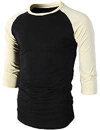 Mens Casual Slim Fit Raglan Baseball Three-Quarter Sleeve Henley T-Shirts