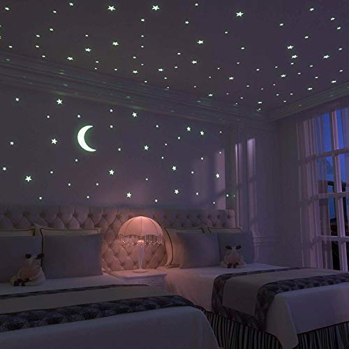 Glow in The Dark Stars and Moon Decal Wall Stickers - Artistic Home Glowing Stars Wall Decor - Glow Stars&Moon for Kids Bedroom Wall Ceiling Decor Stickers(Pink)