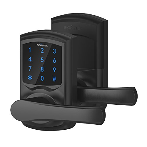 Black Keypad - Signstek Digital Electronic Touchscreen Keypad Security Entry Door Lock Interchangeable for Left and Right Door Handle with Hidden Mechanical Key (Black)