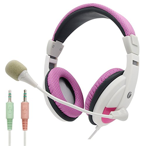(VCOM Computer Headsets with Adjustable Microphone & Volume Control, Lightweight Over Ear Stereo Wired PC Headphones, 2X 3 Position 3.5mm Plug for Laptop Students Teens Adults Girls Women-Pink&White)