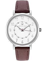WRISTOLOGY Charlotte Petite Womens Watch Silver Numbers Brown Leather Ladies Changeable Strap Band