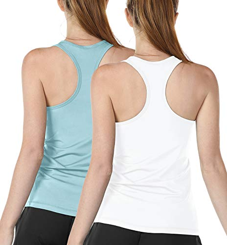 icyzone Workout Tank Tops for Women - Athletic Training Racerback Yoga Tops, Running Gym Exercise Shirts (Pack of 2) (XL, White/Aqua)