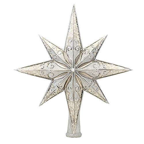 Christopher Radko Hand-Crafted European Glass Christmas Decorative Finial Tree Topper, Silver Stellar