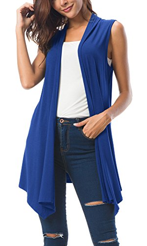 (Women's Sleeveless Draped Open Front Cardigan Vest Asymmetric Hem (L, Royal Blue))