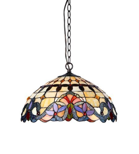 (Chloe Lighting CH33313VI18-DH2 Cooper 2-Light Ceiling Chrome Tiffany Style Victorian Pendent Fixture with Shade, 9.25 x 17.72 x 17.72