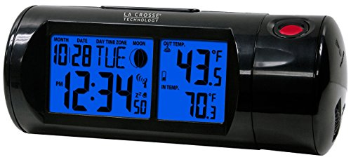 La Crosse Technology 616-143 Projection Alarm Clock with Backlight with In/Out Temp
