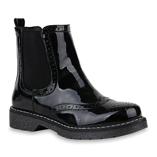 Stiefelparadies Damen Stiefeletten Leicht Gefütterte Chelsea Boots Lack Schuhe Flandell Schwarz