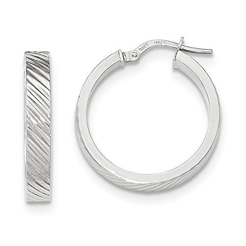 14k Gold Flat Edge (14K White Gold Textured Flat Edge Hoop Earrings)