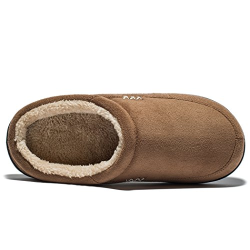 NDB Lined Shearling House Outdoor Slip Indoor Clog Memory Suede Slippers Brown Plush Warm Foam Men's on ap0Rqaf