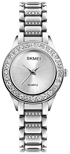 Women Fashion Swarovski Crystal Accented Gold-Tone Stainless Steel Quartz Watch Ladies Waterproof Dress Two-Tone Bangle Bracelet Wristwatches (Silver) ()