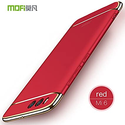 BCIT Funda Xiaomi Mi6 Carcasa Xiaomi Mi6 con 3 en 1 Desmontable Ultra-Delgado Anti-Arañazos Xiaomi Mi6 Funda Protectora - Rojo