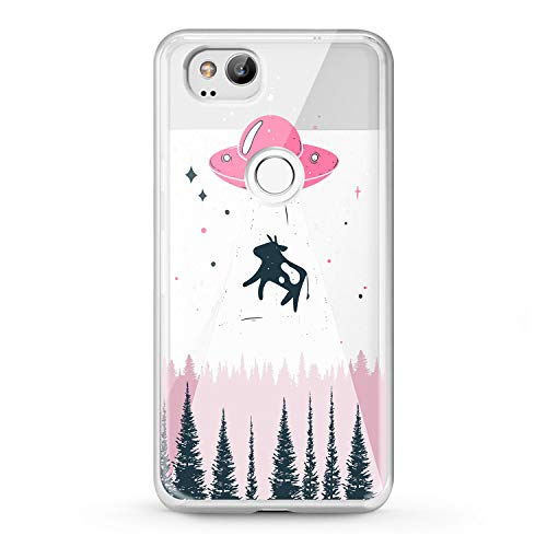 Lex Altern TPU Case Google Pixel 2 3 XL 2016 Space Alien Phone Cute Pink Cover Silicone Cow Print Protective Soft Black Forest Kid Girl Design Transparent Women Teen Clear Funny Stars Flexible Galaxy