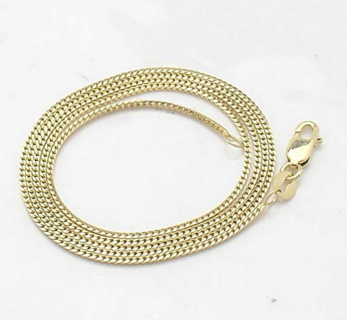Hemau 1mm Solid All Polished Franco Foxtail Chain Necklace Real 14K Yellow Gold | Model NCKLCS - 697 | 14