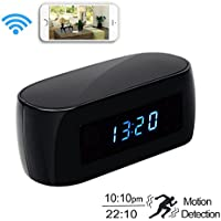 Daretang 1080P Hd WIFI Clock Hidden Spy Camera with Night Vision,140 Degrees,12Mp,Covert Nanny Cam Wireless Camera P2P IP Security,Support IOS/Android PC iPad APP,2-Way Communication