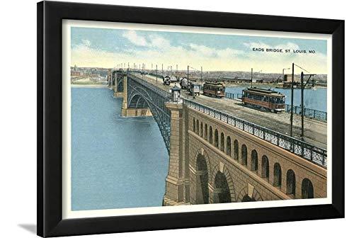 ArtEdge EADS Bridge, Streetcars, St. Louis, Missouri Black Framed Wall Art Print, 18x24 in