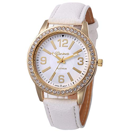 Price comparison product image Outsta Women's Geneva Watches Stainless Steel Analog Leather Quartz Wrist Watch Best Gift (White)