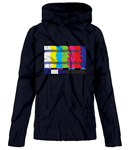BSW Youth Girls No Channel Color Bars Vintage Off-Air TV Hoodie XL Navy