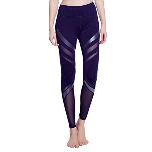 Zhhlaixing Fashion Women's Elastic Tights Summer Athletic Yoga Quick-dry Pants Dark Blue