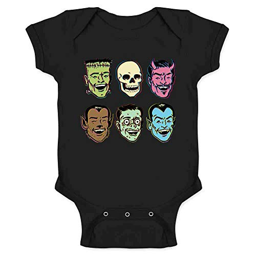 Pop Threads Retro Monster Party Halloween Costume Zombie Black 6M Infant Bodysuit -
