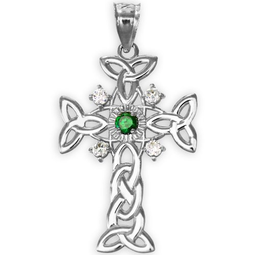 14k White Gold Celtic Knot Trinity Cross Diamond Pendant with Genuine Emerald -