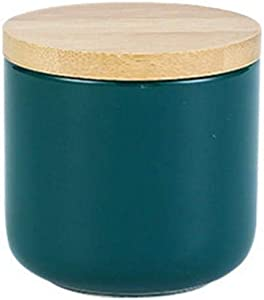 Food Storage Canister, Ceramic Food Storage Jars with with Bamboo Lid Cover Kitchen Canister for Home and Kitchen Serving for Coffee, Sugar, Tea, Flour and More (Style A-9oz)