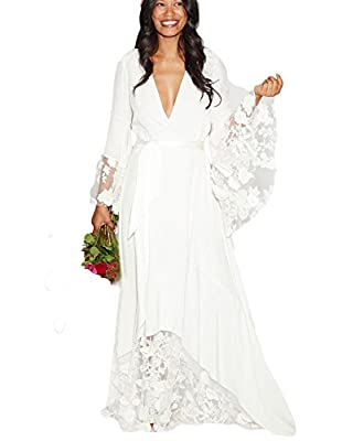 Dressesonline Beach Wedding Dresses Bohemian Bridal Gowns with Long Sleeves