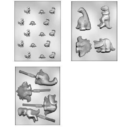 3 Pack Dinosaur Assortment Choc Molds