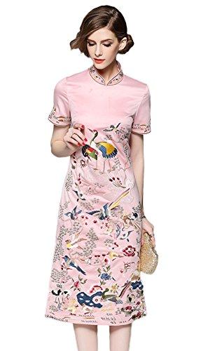 Icegrey Gestickte Exotisches Zwei Handgefertigte Seitenaufteilung Mit Kleider Damen Kleid Party Rosa Blumen rnqWz0Brg