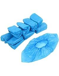 Access CPE Elastic Band Disposable Shoes Cover 100 Pcs Blue compare