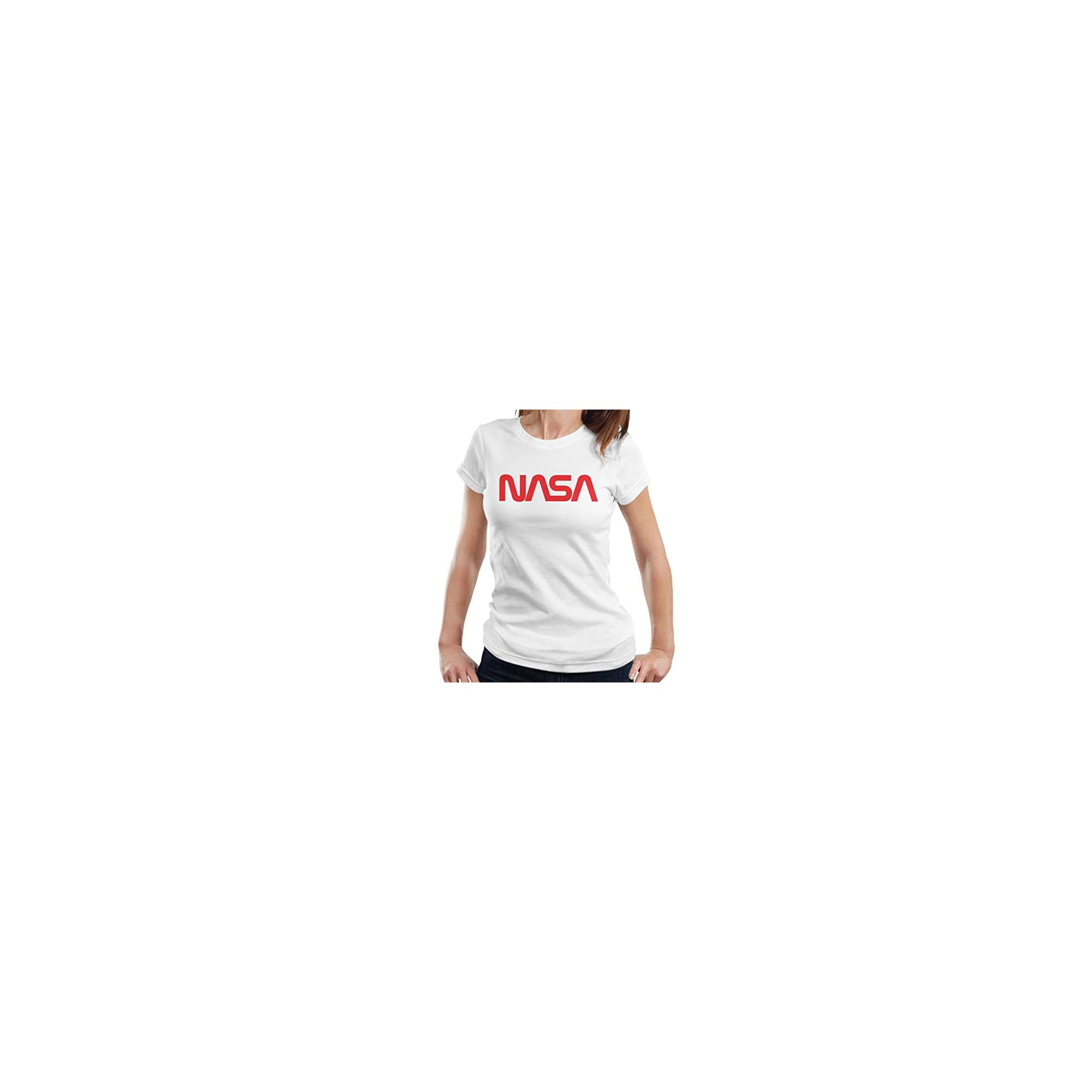Inicio Logo Rojo Nasa Camiseta Vendidas Blanca Más Mujer Camisetas r07ZqTr