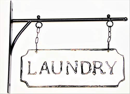 (Silvercloud Trading Co. Rustic Hanging Double-Sided Laundry Embossed Black on White Enamel Metal Sign with Bracket - Mudroom Wall Decor - Room)