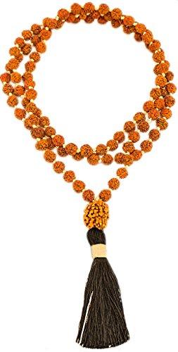 Karmashya 8 Mm Teen Mukhi 3 Face Rudraksha 108 +1 Beads Rudraksh Japa Mala Rosary Black