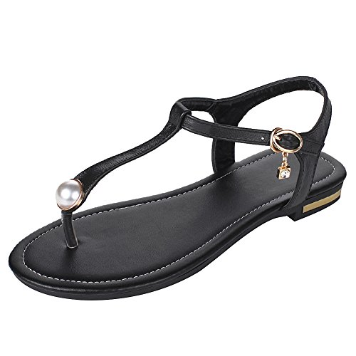 Black rismart Athens Ring Pearl Toe Sandals Leather Buttons Women's With qwqzUHrZR