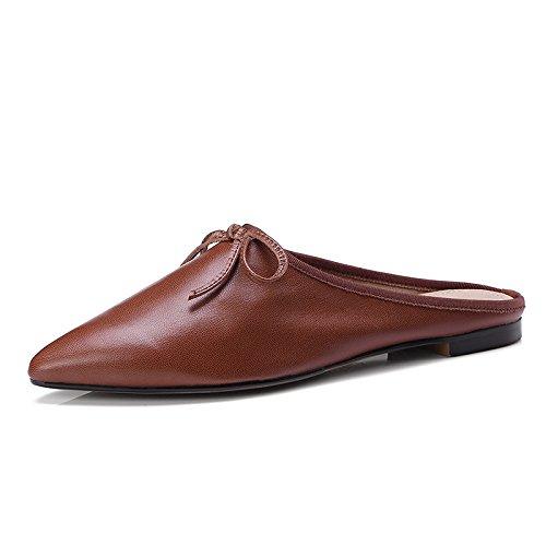 claro Mujeres Planos Pajarita Patadas Outdoor Zapatos Baotou Zapatillas GAOLIM Marrón Traficando Zapatos xFnP1P