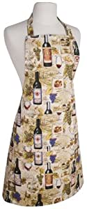 Now Designs Basic Cotton Kitchen Chef's Apron, Wine Label Print