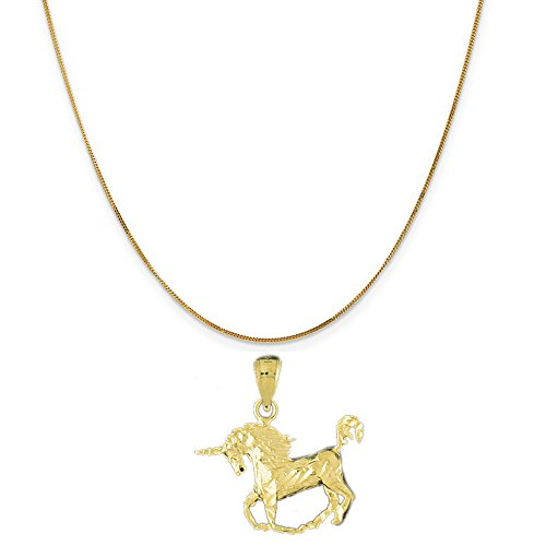 14k Yellow Gold Unicorn Pendant on a 14K Yellow Gold Curb Chain Necklace, 20