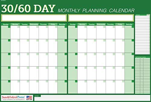 Wall Planner - Calendar - Undated - Dry-Erase - 30 60 Days - (Green) Laminated - 40 x 27