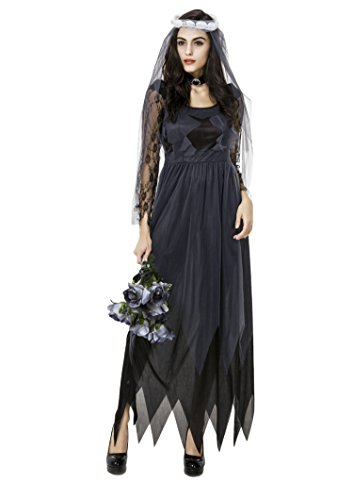 Lace Chiffon Dress Cosplay Ghost Zombie Bride Halloween Costume Black (Zombie Gangster Halloween Costumes)