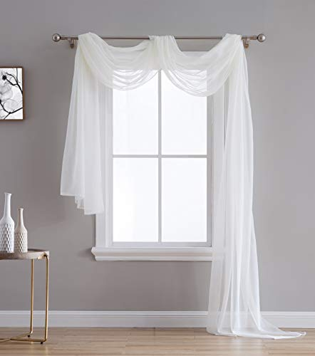 HLC.ME Ivory Sheer Voile Window Curtain Swag Scarf - Valance - Fully Stitched and Hemmed - 55 x 216 inch Long (Window Ivory Scarf)