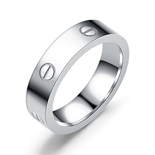 Dubeauty Love Ring Lifetime Titanium Stainless Steel Couples Wedding Engagement Anniversary Engraved Bands Silver Size 10 by Dubeauty