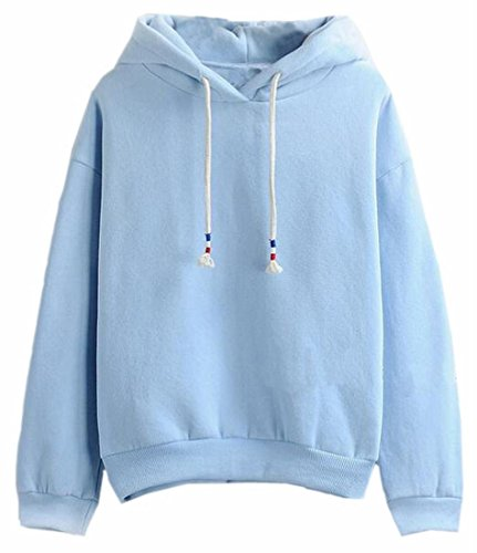 Candy Stripe Hoodie Top - Jaycargogo Women's Candy Color Pure Hooded Sweatshirts Pullover Tops 3 XS
