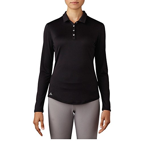 (adidas Golf Women's Performance Long Sleeve Polo T-Shirt, Black, Large)