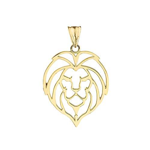 Fine 14k Yellow Gold Lion Head Outline Charm Pendant ()