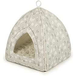 Sterling Secluded Cat Tent Bed, Plush with Mischievous Mouse Fabric